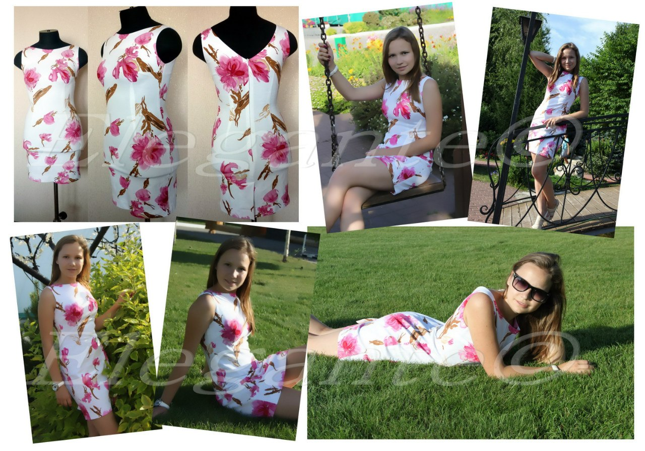 Трикотажное платье с ярусной юбкой 38